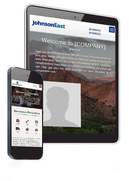 Website Template displayed on iPhone